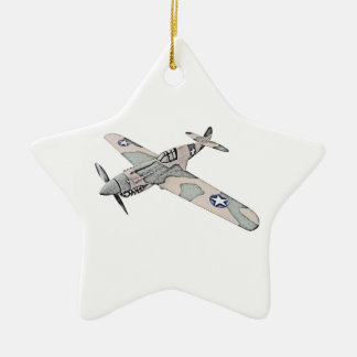 Curtiss P-40 Warhawk Aircraft Ceramic Star Decoration
