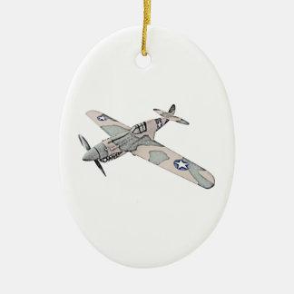 Curtiss P-40 Warhawk Aircraft Christmas Ornaments