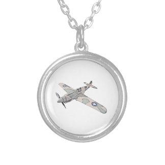Curtiss P-40 Warhawk Aircraft Round Pendant Necklace
