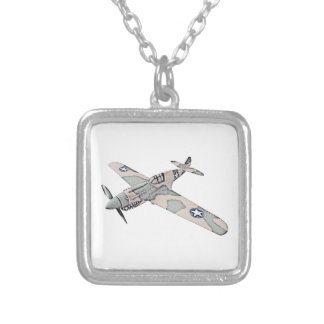 Curtiss P-40 Warhawk Aircraft Square Pendant Necklace