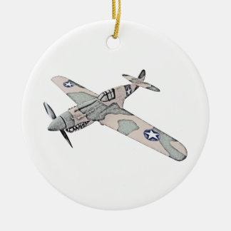 Curtiss P-40 Warhawk Aircraft Round Ceramic Decoration