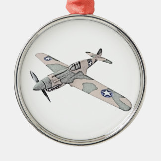 Curtiss P-40 Warhawk Aircraft Silver-Colored Round Decoration