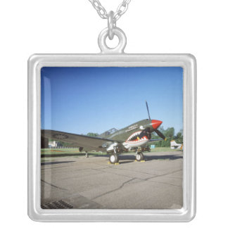 Curtiss P-40 Warhawk, at Minnesota CAF Air Show Silver Plated Necklace