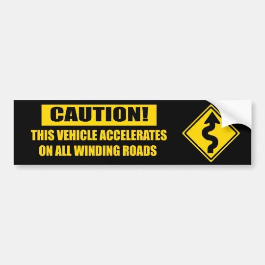 Curve Caution - black Bumper Sticker