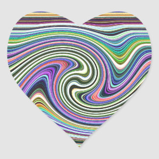 Curved Layers of Colors Heart Sticker