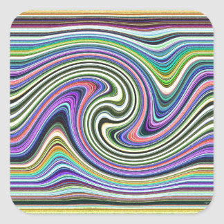 Curved Layers of Colors Square Sticker