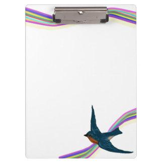 Curved Rainbow Stripes and Bluebird Clipboard