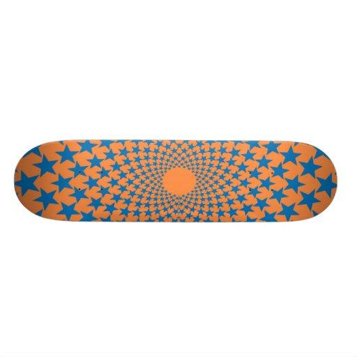 Curved Stars (Blue/Orange) Skateboard Deck