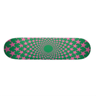 Curved Stars Pink Green Skateboard Deck