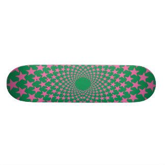 Curved Stars (Pink/Green) Skateboard Deck