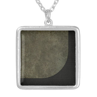 Curved Steel Plate Graphic on Industrial Mesh Necklaces