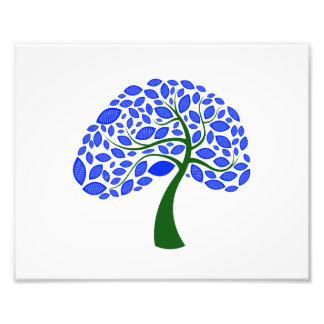 curved trunk simple leaf blue green  tree.png photographic print