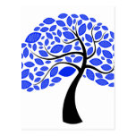 curved trunk simple leaf blue  tree.png postcard