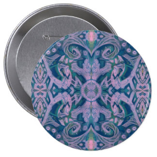 Curves & Lotuses, abstract floral, lavender & blue 10 Cm Round Badge
