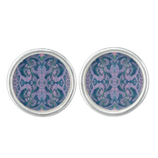 Curves & Lotuses, abstract floral, lavender & blue Cuff Links