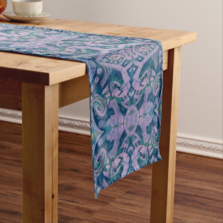 Curves & Lotuses, abstract pattern lavender & blue Short Table Runner