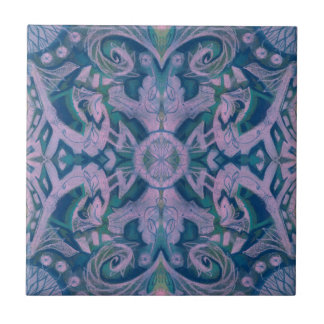 Curves & Lotuses, abstract pattern lavender & blue Small Square Tile