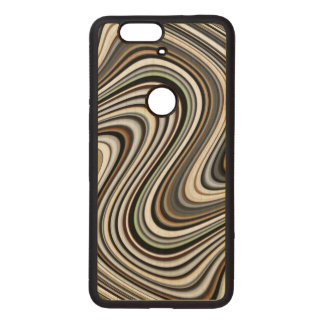Curvy Abstract Shapes Wood Nexus 6P Case