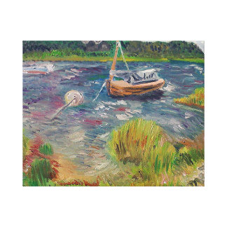 Curvy boat The Springs, East Hampton-Oil Painting Canvas Print