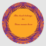Curvy Orange Circle Bookplate Round Stickers