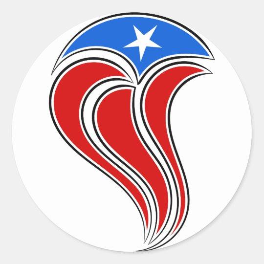 Curvy Puerto Rico Flag Design Classic Round Sticker
