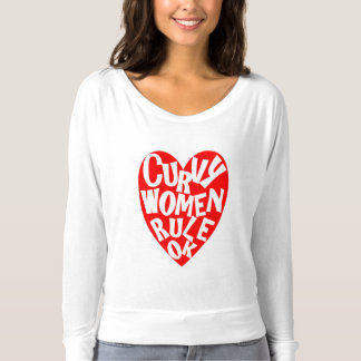 Curvy Woman Rule OK Funny Heart Typography Graphic T-Shirt