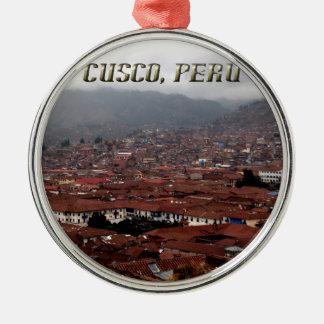Cusco City Skyline Peru Silver-Colored Round Decoration