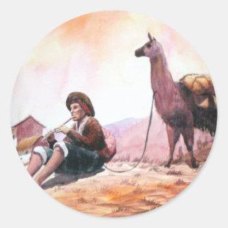 Cusco Peru Llama Picture Classic Round Sticker