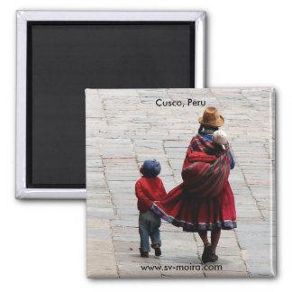 Cusco, Peru, mother and children Magnet