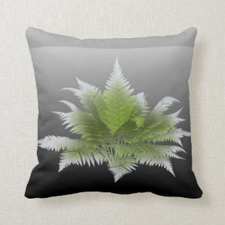 Cushion gray color cement with green leaves