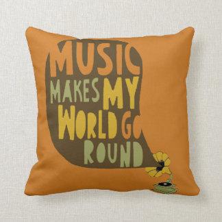 "Cushion ""Music makes my world go round """