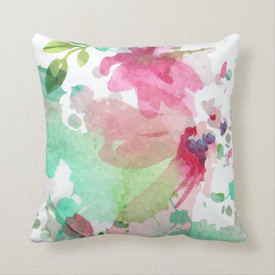Cushion Pillow Floral Design Watercolor