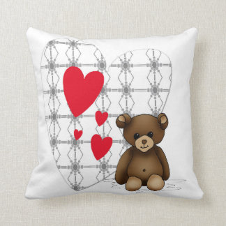 Cushion white square with teddy and red heartwoods