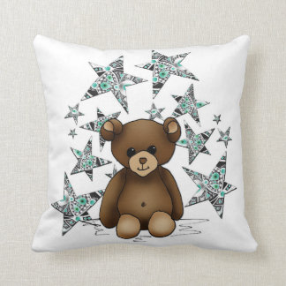 Cushion white square with teddy and stars