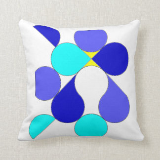 Cushion with blue and yellow geometrical reason