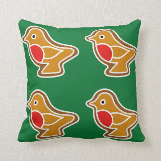Cushion with family of gingerbread robins
