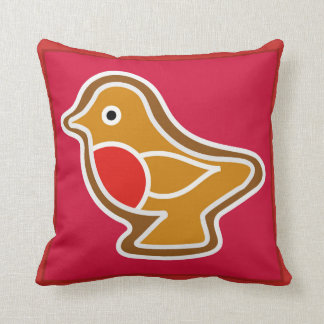 Cushion with large robin for christmas decoration