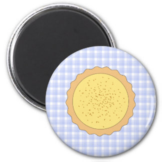 Custard Pie. Yellow Tart, with Blue Gingham. 6 Cm Round Magnet