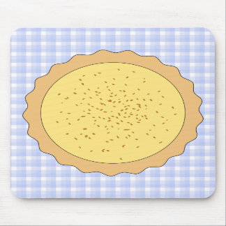 Custard Pie. Yellow Tart, with Blue Gingham. Mouse Pad