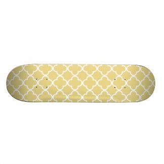 Custard Yellow and White Quatrefoil Moroccan Patte Custom Skate Board