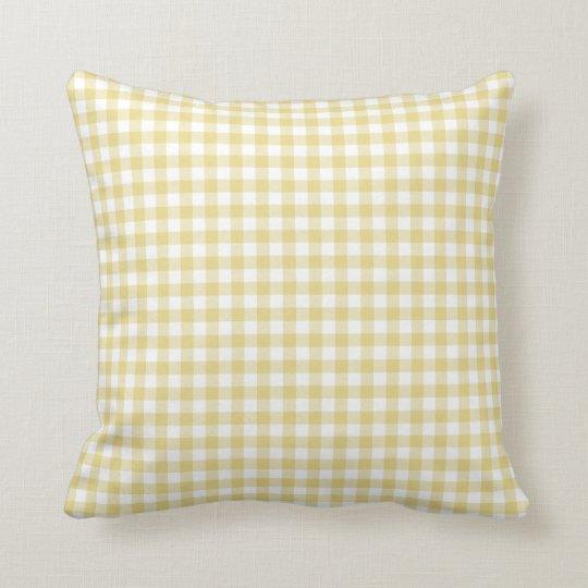 Custard Yellow Gingham Pattern Throw Pillow