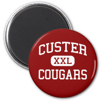 Custer - Cougars - High - Milwaukee Wisconsin 6 Cm Round Magnet