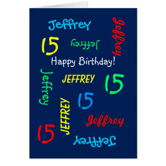 Custom 15th Birthday Card Any Name, Blue