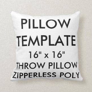 "Custom 16"" No Zip Polyester Throw Pillow Template"