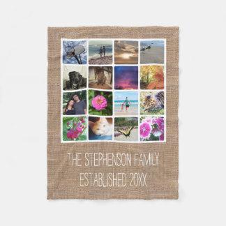 Custom 16 Photo Collage Burlap-Look Mosaic Picture Fleece Blanket