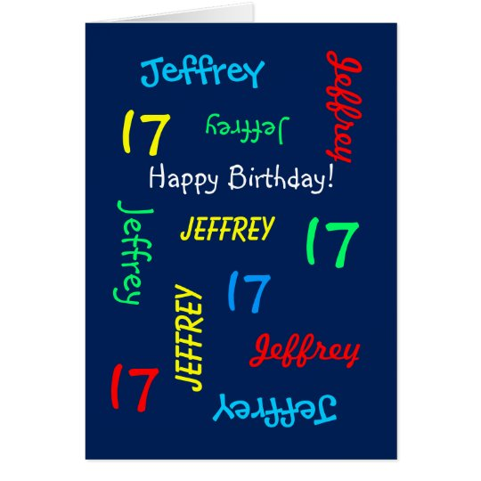 Custom 17th Birthday Card Any Name, Blue, Teenager