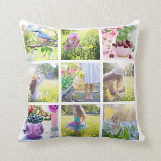 Custom 18 Instagram Family Photo Collage Cushion