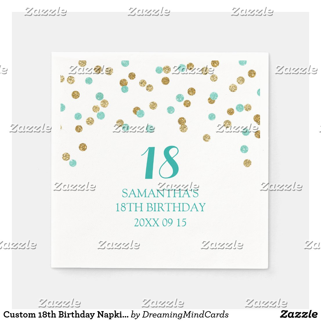 Custom 18th Birthday Napkin Gold Tuquoise Confetti Paper Napkin