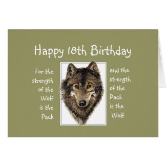 Custom 18th  Birthday Wolf Pack Family Quote Cards