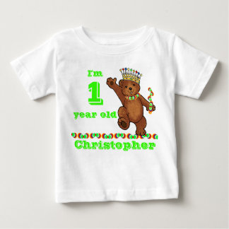 Custom 1st Birthday Party Royal Bear Baby T-Shirt